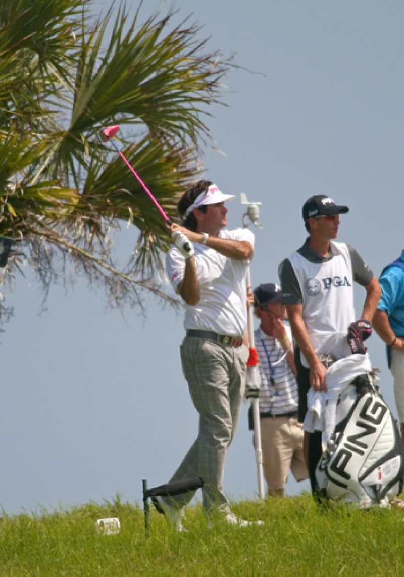 Bubba Watson does not hold back when he swings his trademark pink driver.