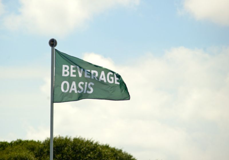 The beverage oasis was a popular place this afternoon.