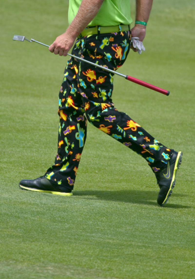 "John Daly's ""Give prostate cancer the finger"" pants."