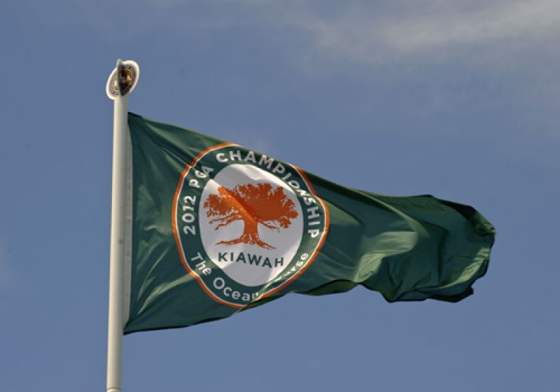 The winds were buffeting all the flags at the Ocean Course today.