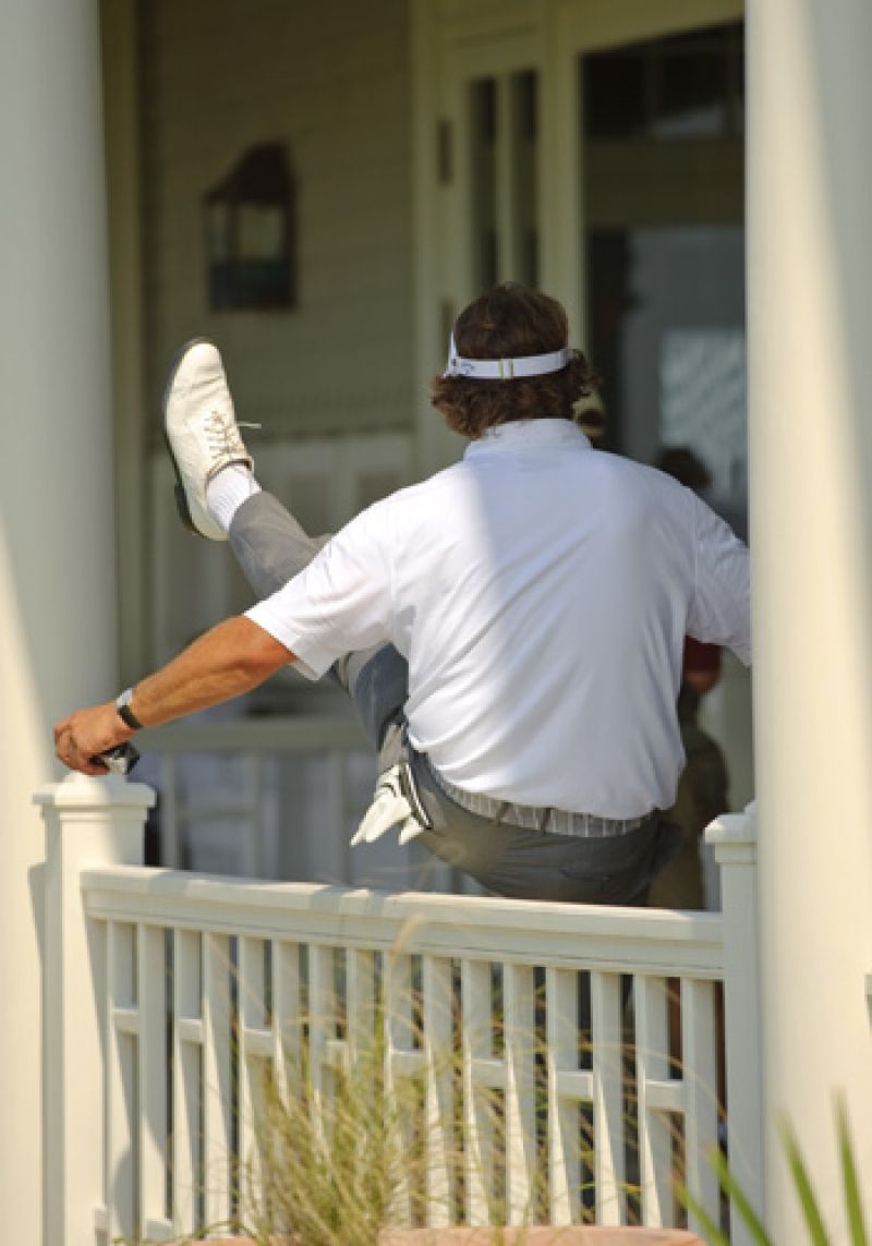 Phil Mickelson jumping the fence to get into the clubhouse.