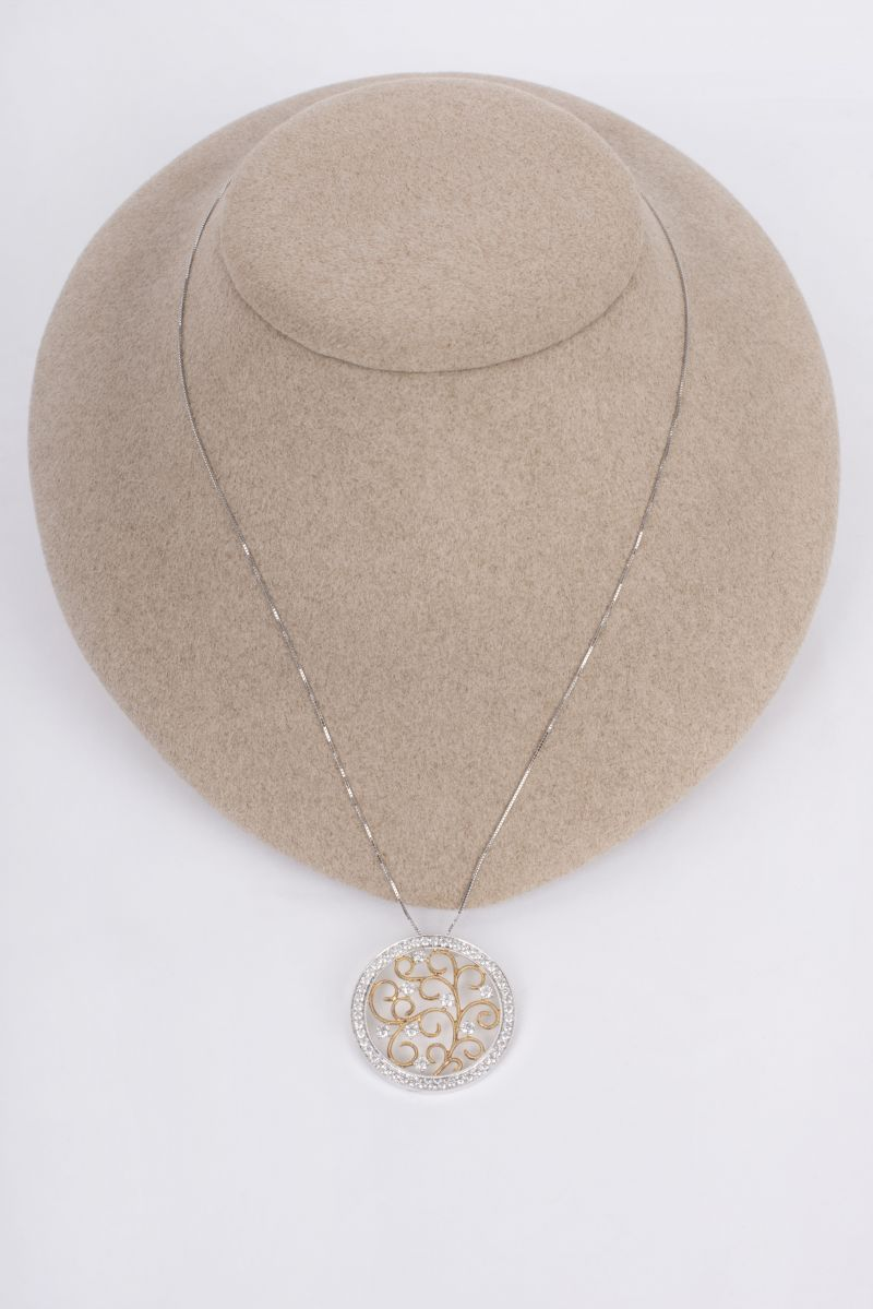 14K yellow and white gold Fancy Diamond necklace, $4,030 at Polly's Fine Jewelry