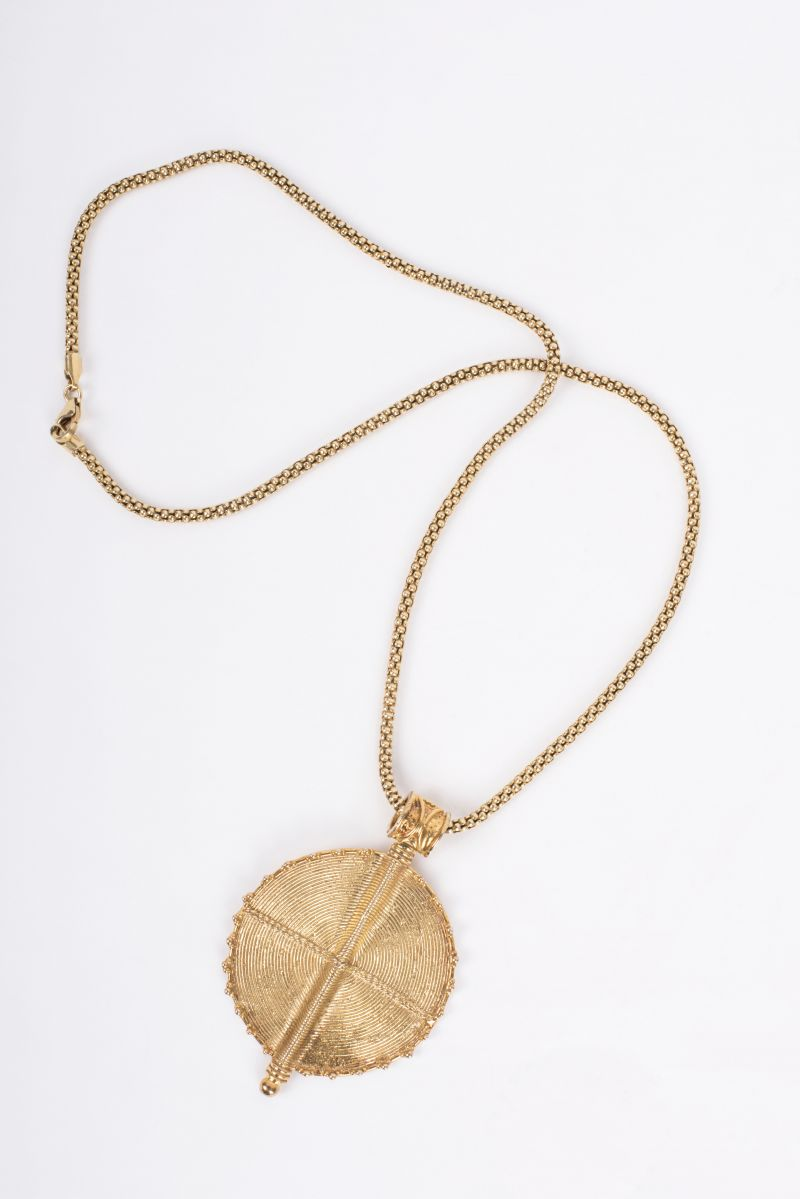 Etruscan gold plated flat shield pendant necklace, $342 at The Hidden Countship