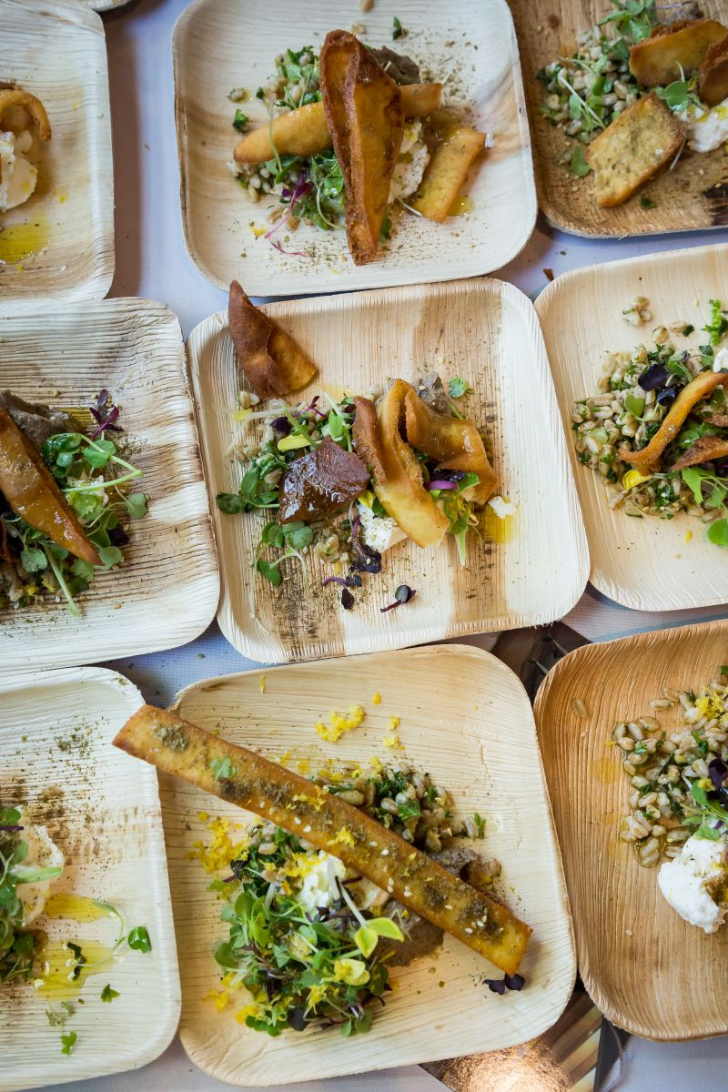 Chef Forrest Parker of Revival's ancient grain tabbouleh with labneh, spring shoots, and lemon vinaigrette.