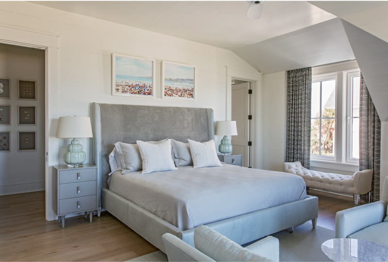 This guest bedroom features a Hickory Chair bed and Lee Industries bench and chairs; all were made in North Carolina, near Mike and Mary's primary residence