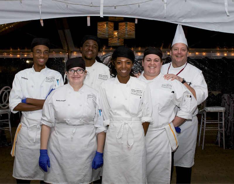 Chef Donald Barickman (right) with  Culinary Institute of Charleston students
