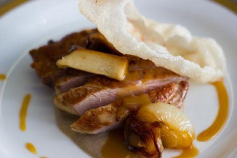 "Dry aged Canadian duck breast (foie gras tourchon, King Trumpet mushrooms, ""cracklins,"" misoyaki glaze)"
