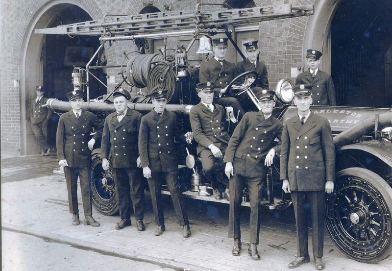 In a circa-1925 photo, the Charleston Fire Department's Motor Engine Company Number 7 poses outside its Cannon Street station (still in service today).