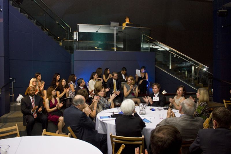 Guests applaud honoree David Crowley
