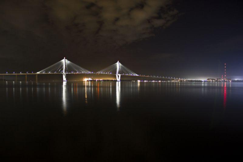 View of the Ravenel Bridge from the patio of the South Carolina Aquarium