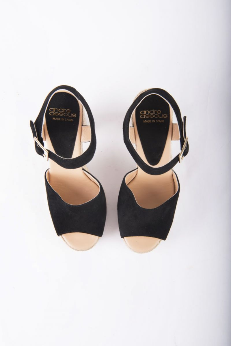 Andre Assous wedge rope espadrille in black, $259 at Gwynn's of Mount Pleasant