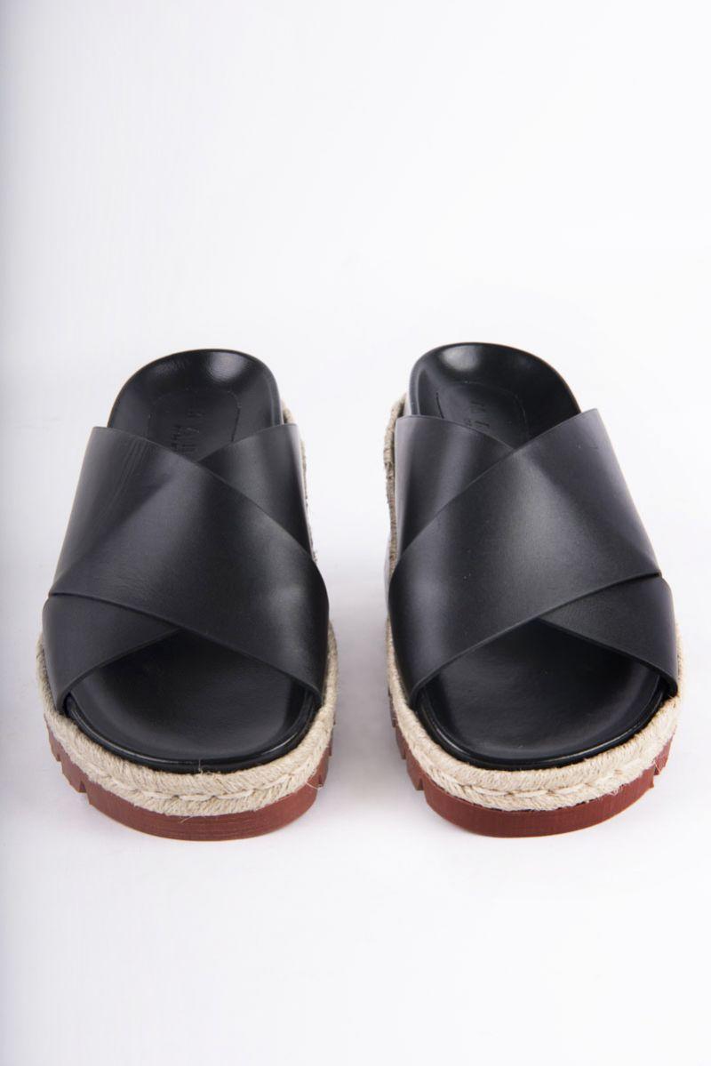 """Marni """"Fussbett"""" crisscross sandals in black calfskin, $690 at Hampden Clothing"""