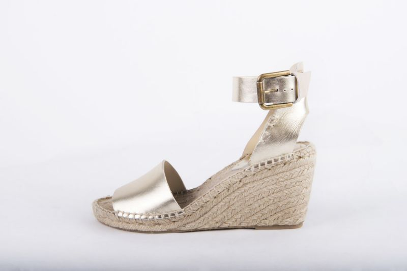 Soludos platinum leather wedge espadrille, $145 at Out of Hand
