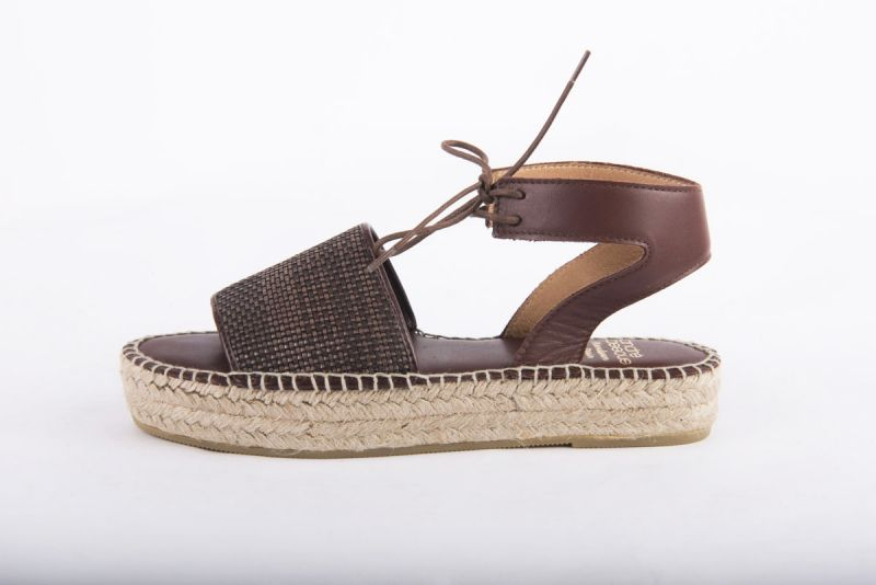 """Andre Assous """"Sage Woven Pu"""" espadrille flat sandal in chocolate, $169 at Shoes on King"""