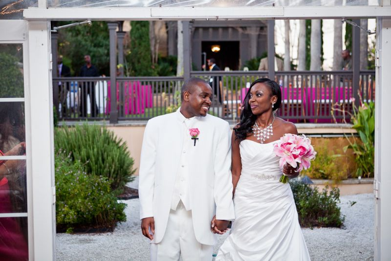 RIGHT IN WHITE: Jaime wore a Mori Lee original gown from Jean's Bridal while Tamars looked sharp in a matching white suit.