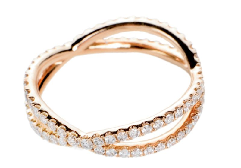Rosy Times: 18K rose gold ring with pavé diamonds(.65 total ct.) Paulo Geiss Jewelers, $4,000