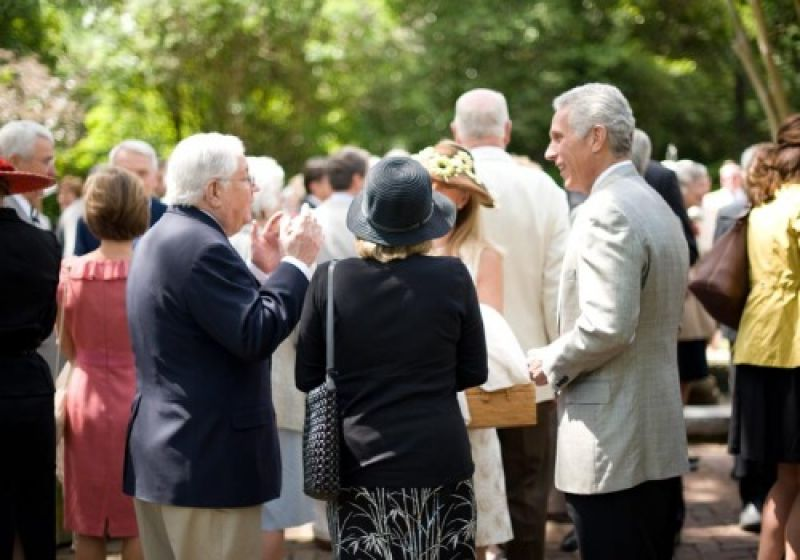 Guests mingle in the Governor Thomas Bennett House garden