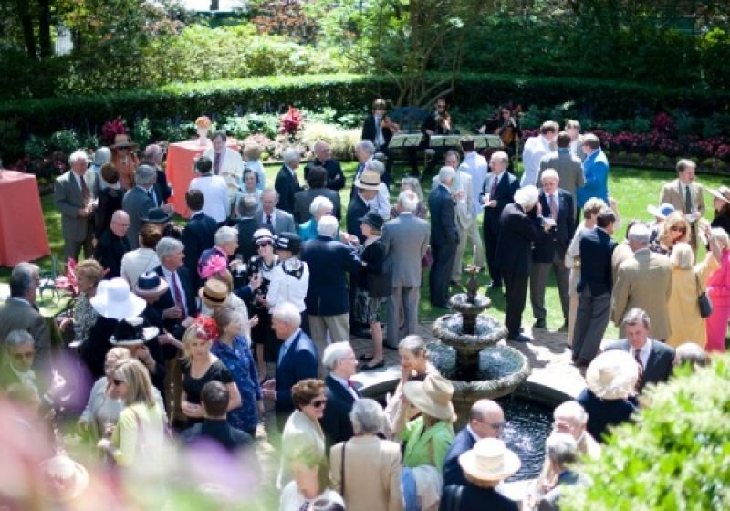 A piazza view of the garden party