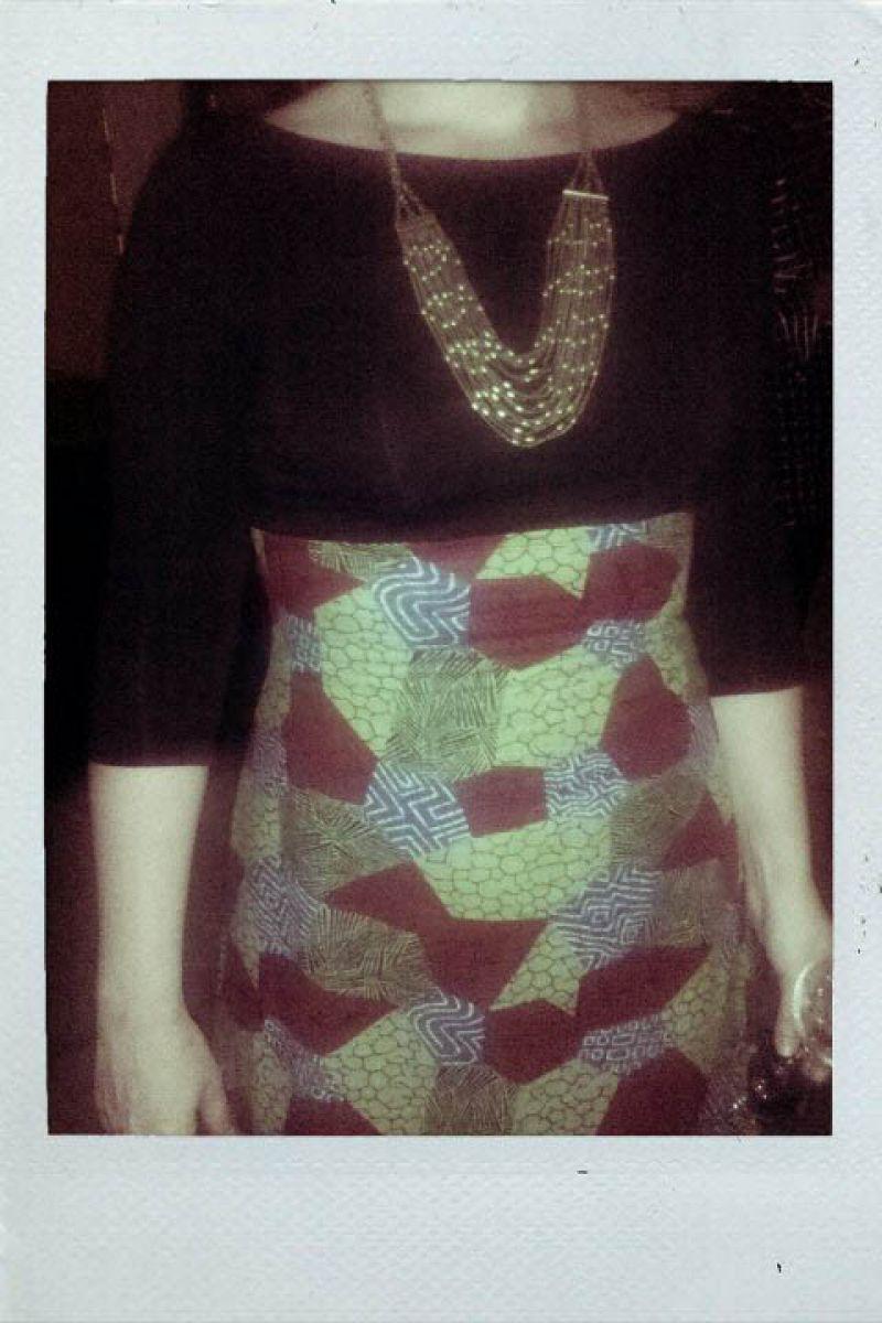 Erika in hi-waisted Parsian skirt.