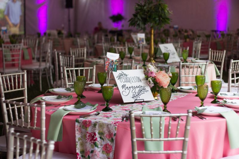 Each table featured a vibrant bouquet of florals and custom hand-lettering.