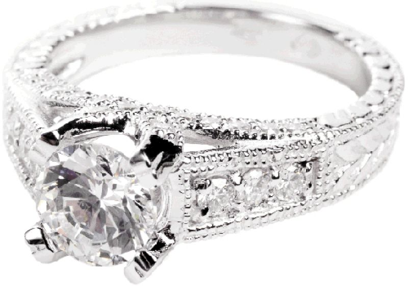 Star Attraction: 18K white gold ring with 1.04 ct. center diamond and accent diamonds (.5 total ct.) Loy Harn Jewelers, $9,000