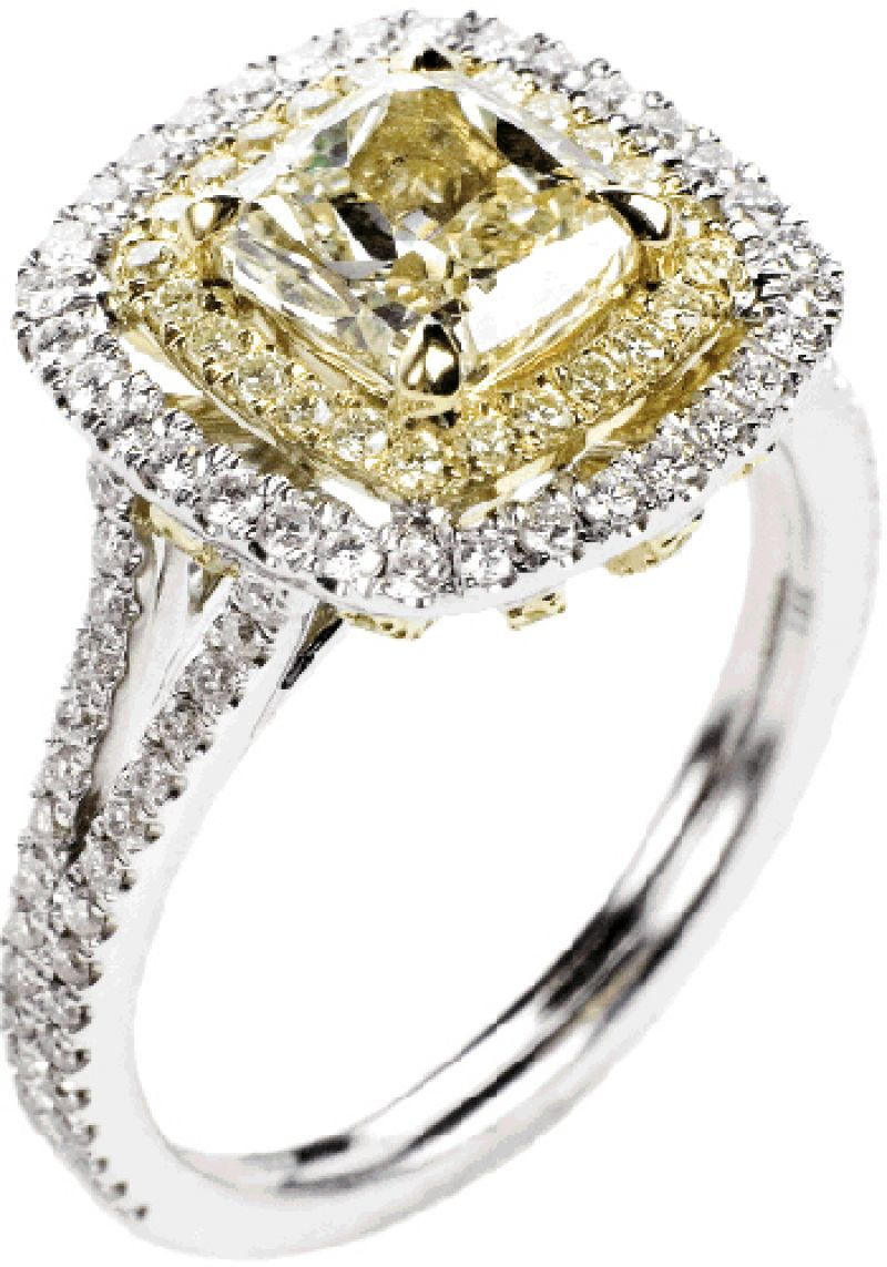 Stone-Cold Glam: 18K white gold ring with 1.55 ct. center yellow diamond and accent diamonds (1.5 total ct.) Nice Ice, $18,000