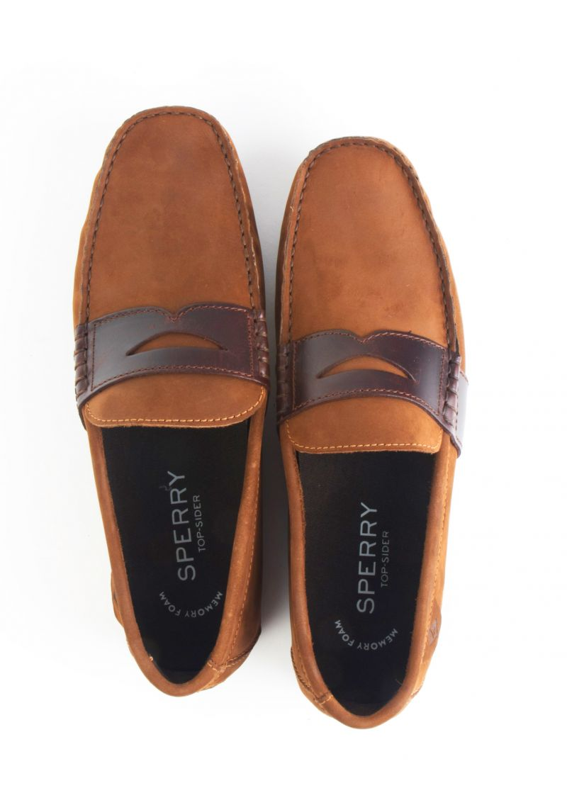 Sperry, Wave Driver Penny Loafer in Brown Buck, $90 at Belk