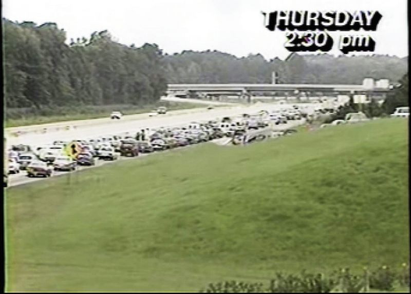 bumper-to-bumper traffic on the interstate as people evacuated inland