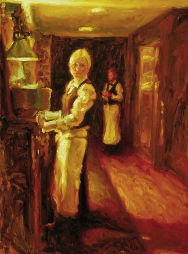 "Waitress at Oak, 2011, 48"" x 36"", oil on linen"