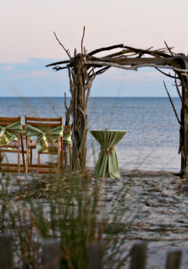Using real driftwood, Atlantic Tent Rental built an arbor that looked indigenous to the ceremony location.