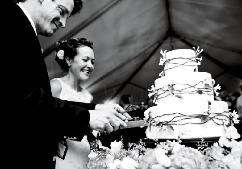 """TAKE THE CAKE: """"Our marzipan wedding cake was divine,"""" Sarah says of the confection created by Jim Smeal"""
