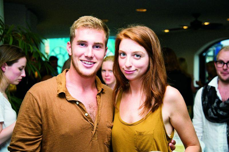 Joe Jacobin and Ashley Hull await the fashion show.