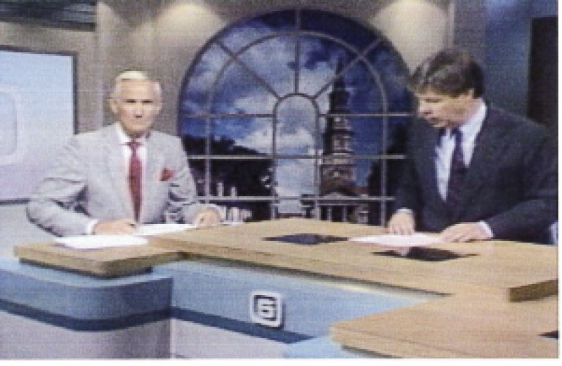 "Live 5 weatherman the late Charlie Hall (at left) and news anchor Bill Sharpe continued reporting from their downtown studio until management forced them to evacuate. In recalling that time, Sharpe says, ""Charlie was dreading what was coming, and you could hear it in his voice and see it in his face. But by sharing these fears, he may have saved lives."""