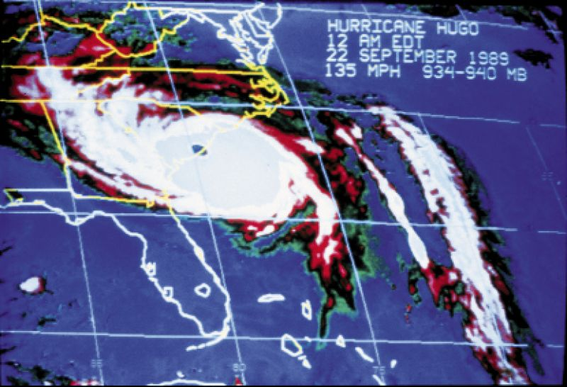 This NOAA radar image documented the eye of Hugo on Charleston's coastline and 135-mph winds at midnight.