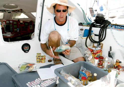 Kurt Oberle of High & Dry Boat Works organizes provisions. Photographs by Billy Black.