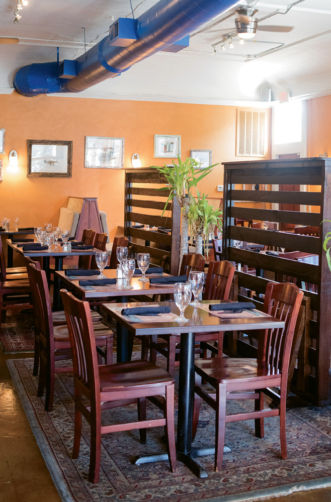The casual dining room at Goulette