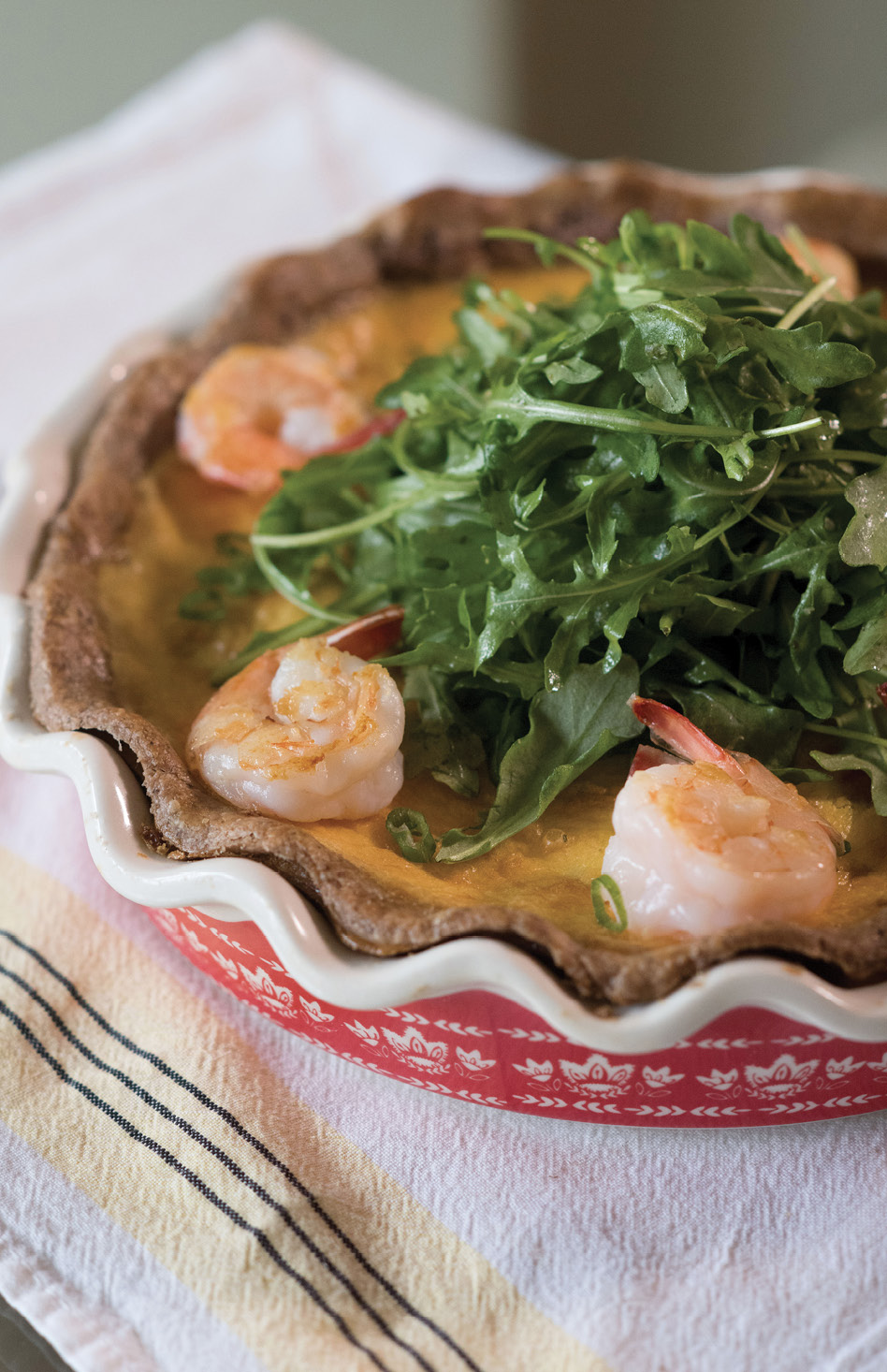 Upchurch saves a few of the shrimp to garnish the quiche; these get cooked a little longer than the rest.