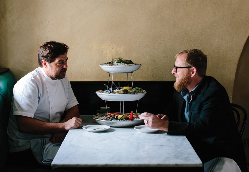 UPSCALE SEAFOOD: The Ordinary; chef-owner Mike Lata (left) with friend and fellow chef Jacques Larson of The Obstinate Daughter & Wild Olive