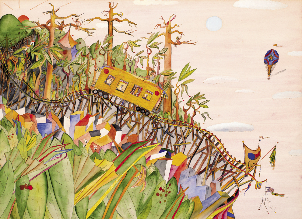 Runaway Train (1976, watercolor on paper, 21 x 28 inches)
