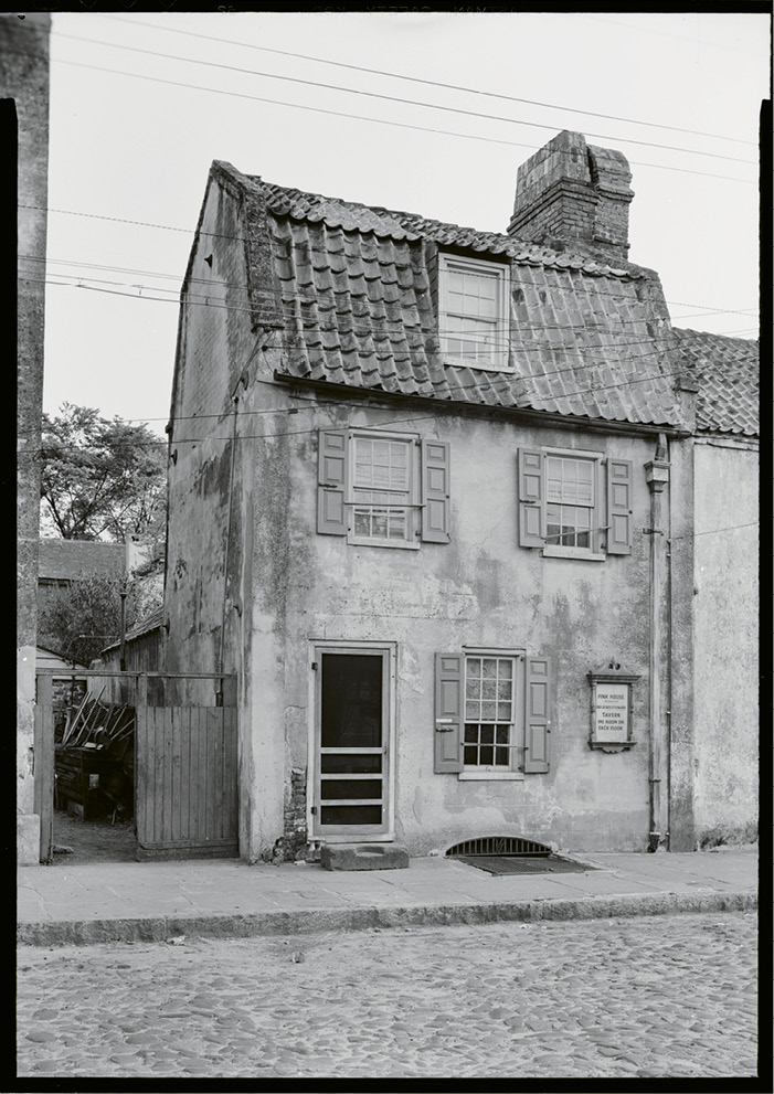 The Pink House at 17 Chalmers Street documented in 1933 for the Historic American Buildings Survey; image courtesy of Library of Congress