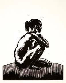 "Untitled Figure Study, 2012, 14"" x 19"",  wood block print on rice paper"