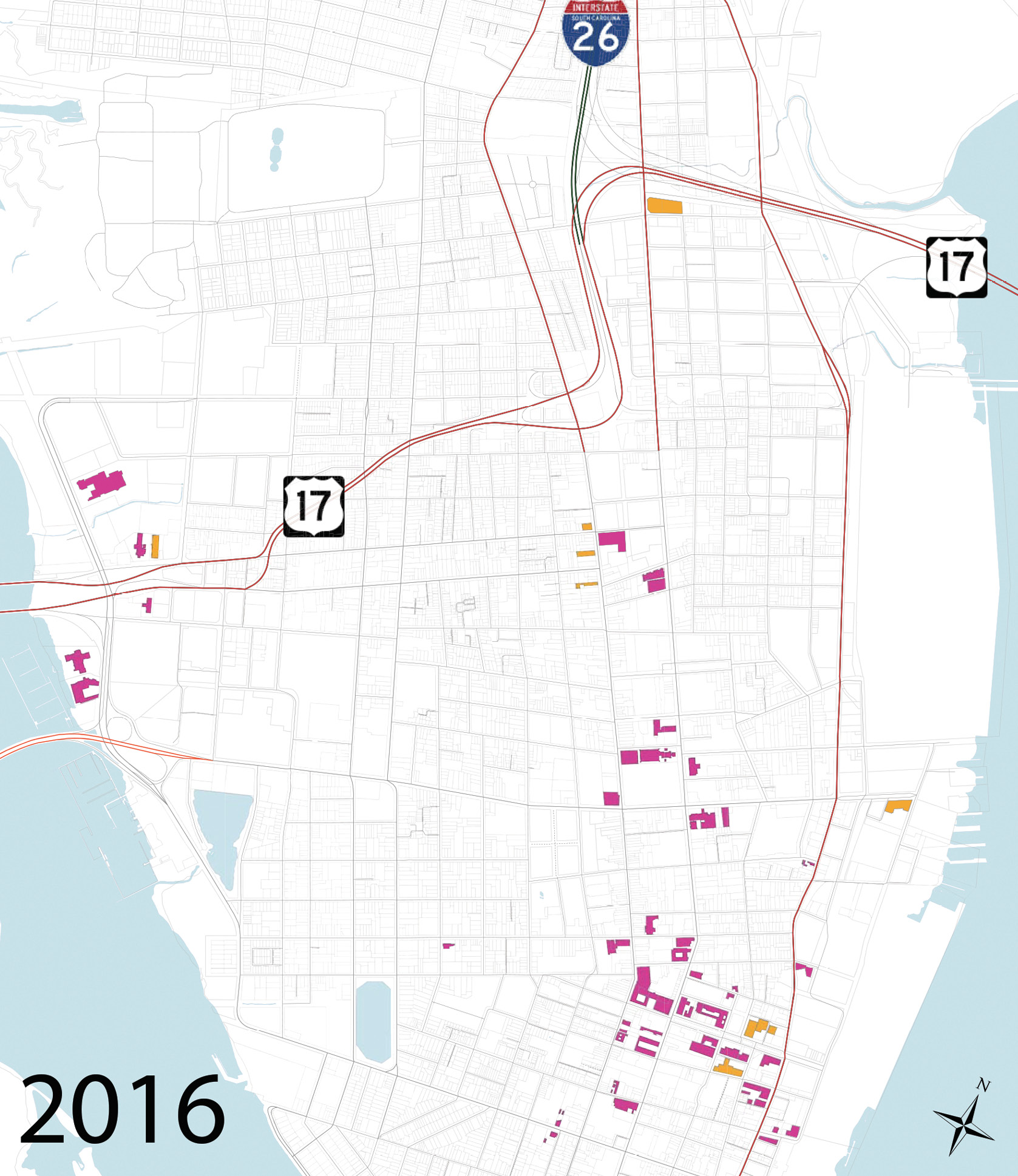 """This map from the Peninsula Hotel Study, prepared by the City of Charleston's department of Planning, Preservation, and Sustainability and division of Business and Neighborhood Services in June 2016, shows all existing hotels and those under construction in magenta and 11 recently approved in orange. Upon completion, the peninsula will have nearly 6,000 guest accommodations. To read the full report, visit <a href=""""http://www.charleston-sc.gov/DocumentCenter/View/11618"""">www.charleston-sc.gov/DocumentCenter/View/11618</a>."""