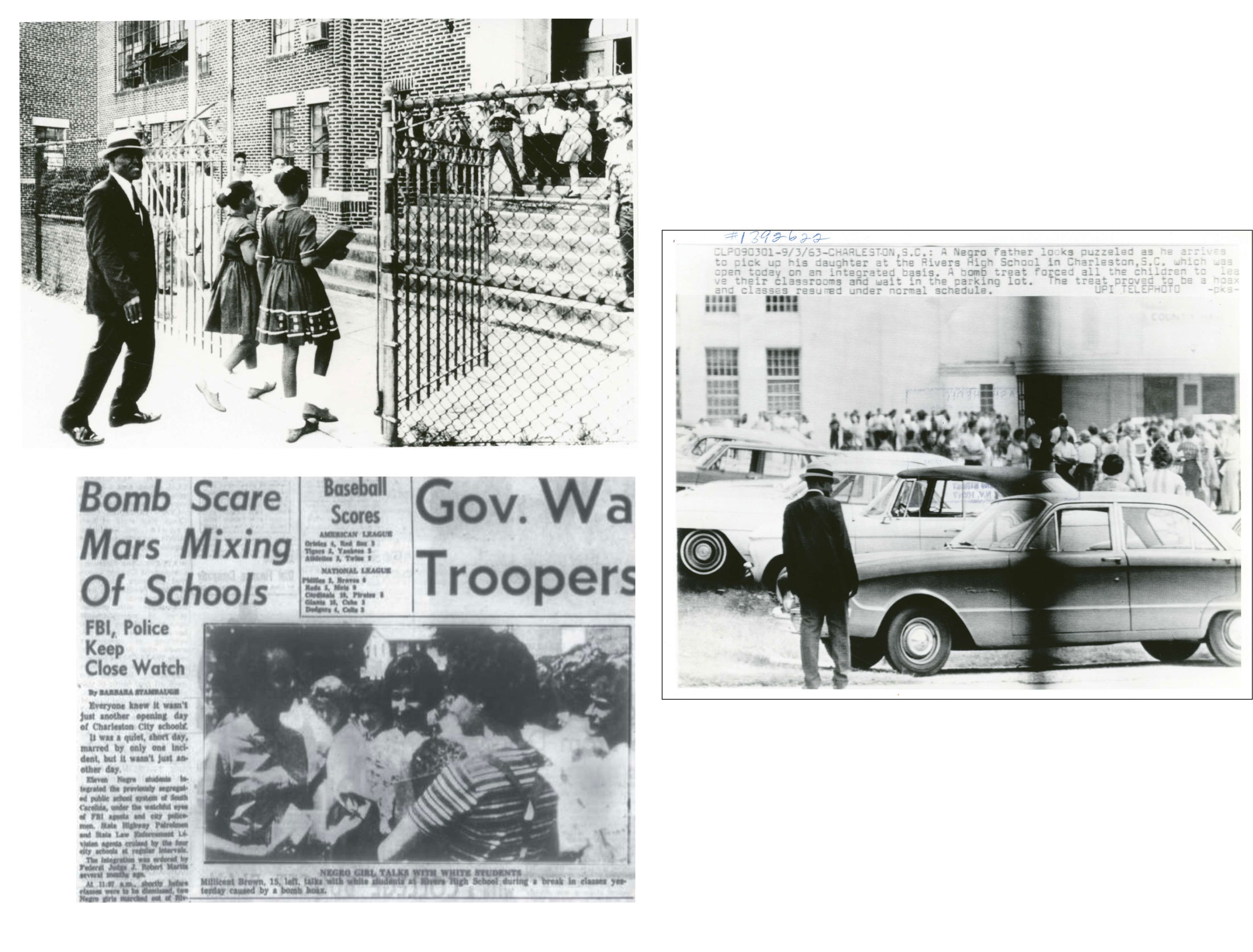 (Counterclockwise from left) The front page of The News and Courier, as well as newspapers across the country, featured Millicent Brown's first day at Rivers High School, during which three bomb threats forced students to be evacuated into the parking lot. Further down King Street, Clarence Ford escorted his daughter, Barbara, and Oveta Glover into the formerly all-white James Simons Elementary School.
