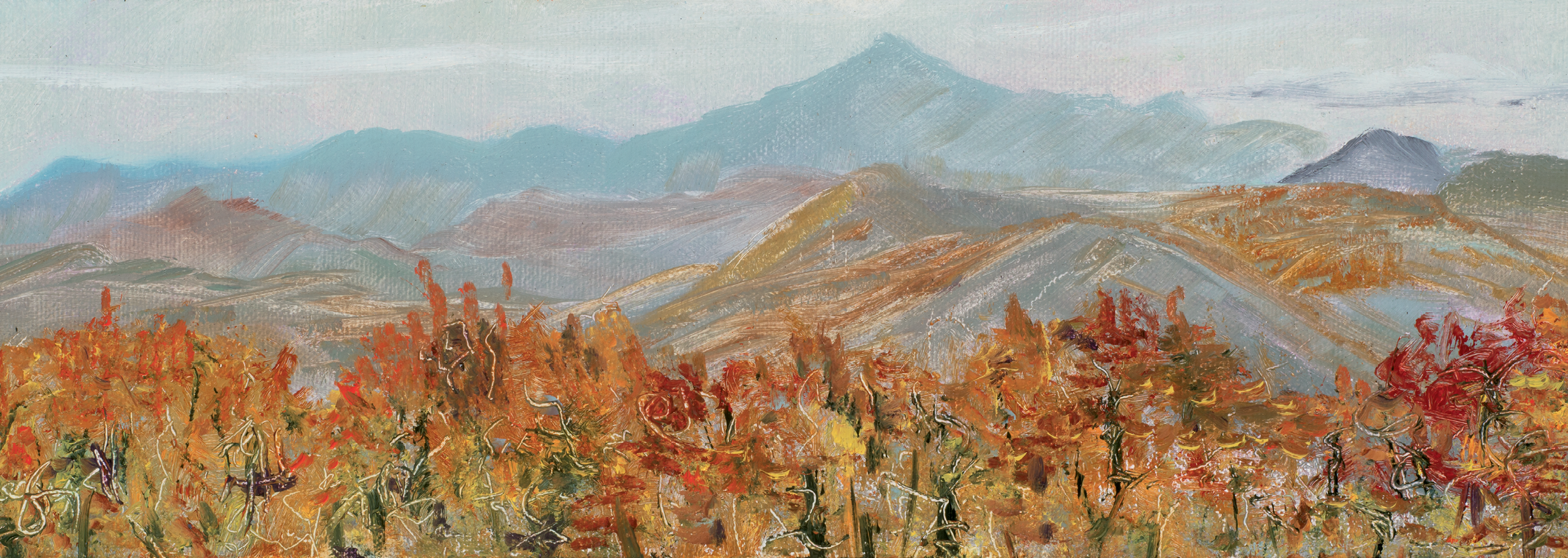 Blue Ridge, oil on panel, 4 x 12 inches, 2016; image courtesy of Mary Edna Fraser