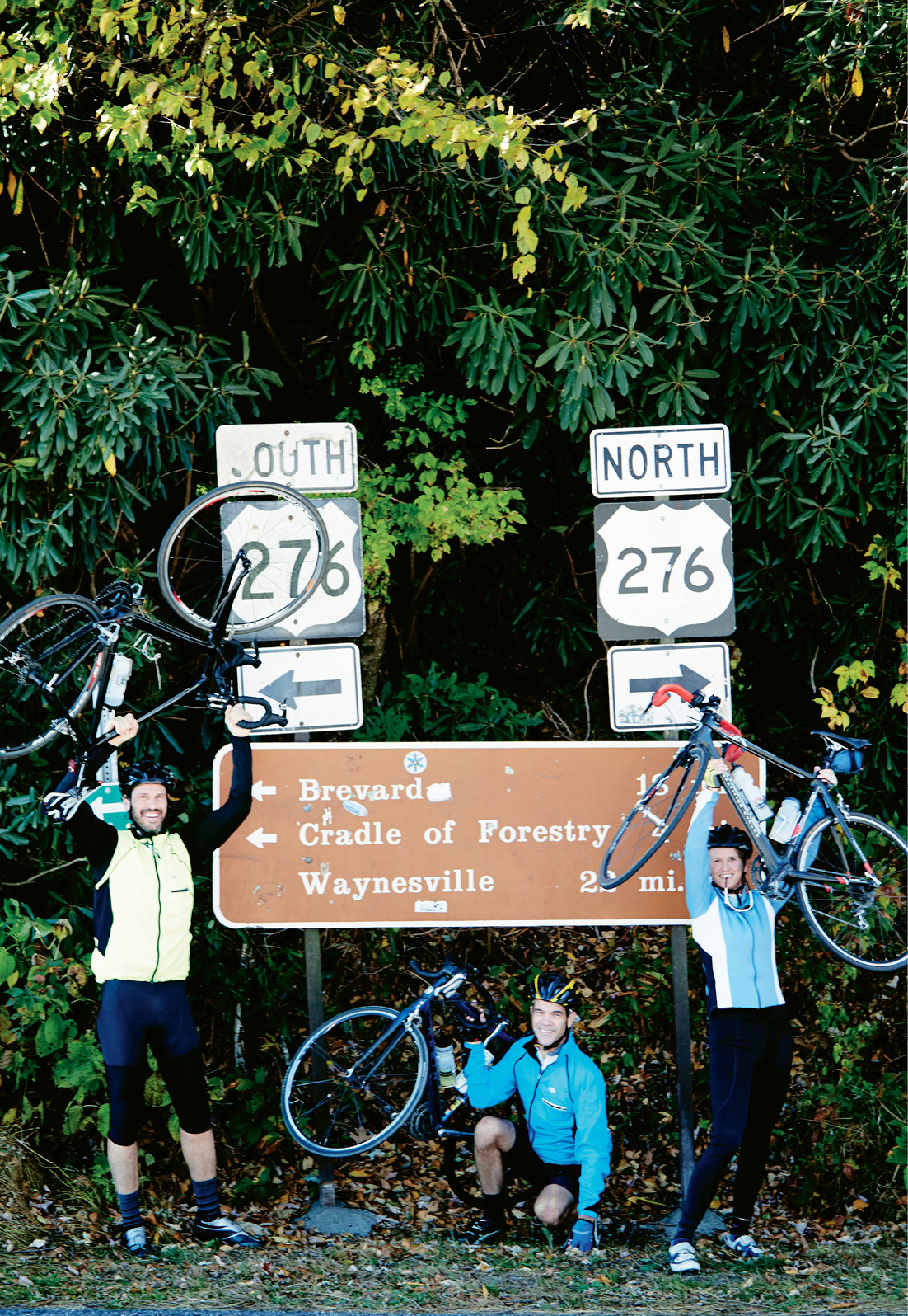 Relief and a celebratory photo op at the top of 276, where gently rolling hills and breathtaking overlooks along Blue Ridge Parkway await.