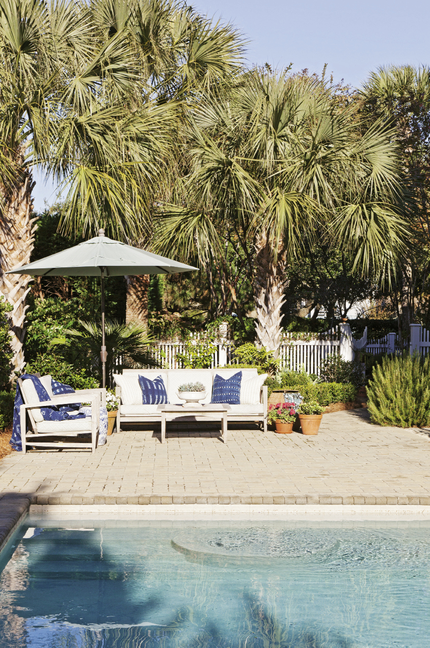 The pool area projects a Palm Springs vibe.