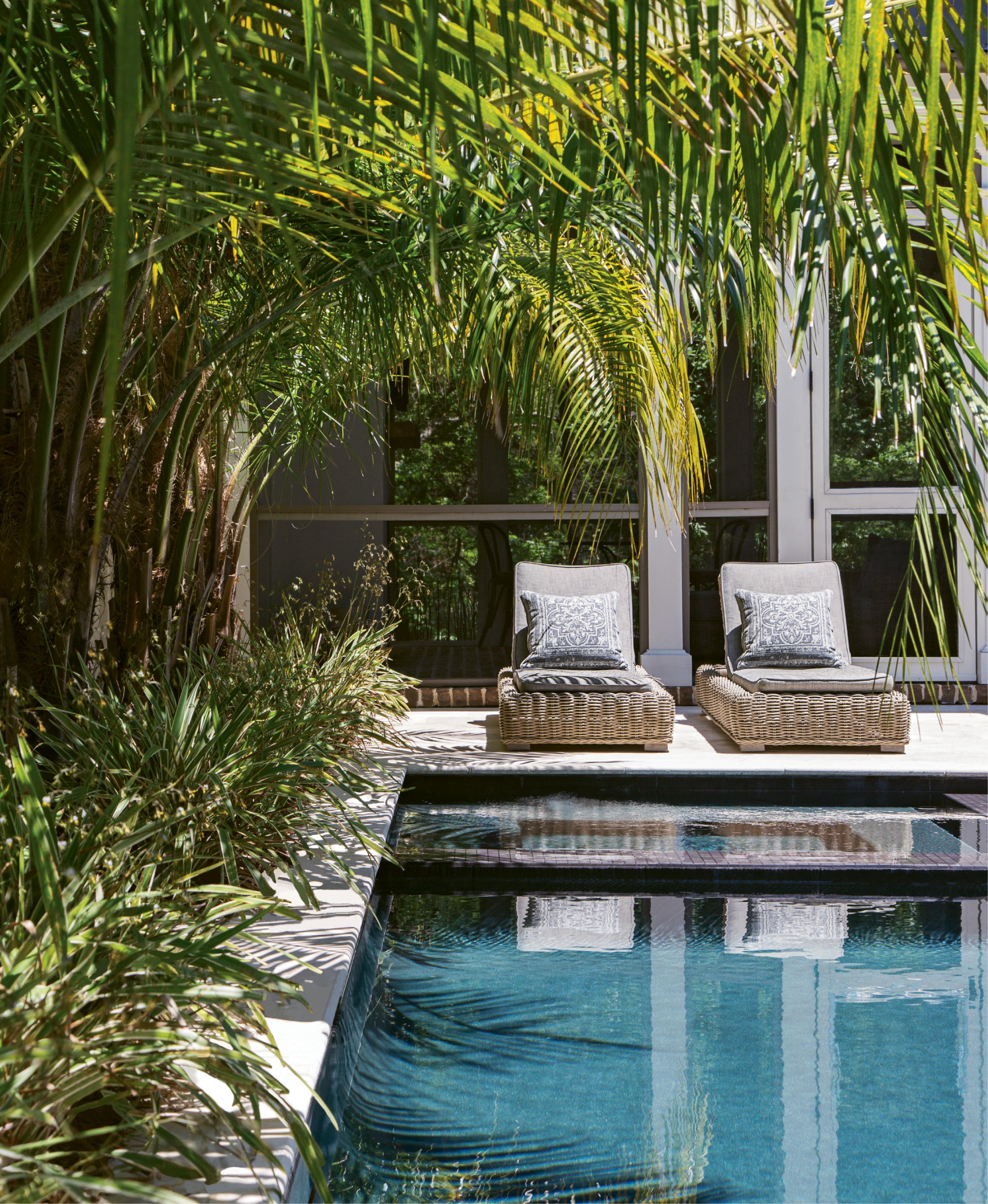 Reflective Pool: Though not initially in the plans, the Cuocos' addition of a pool—a spot for relaxation, family fun, and outdoor entertaining—reflects their lifestyle and their wish that home be a place of refreshing serenity.
