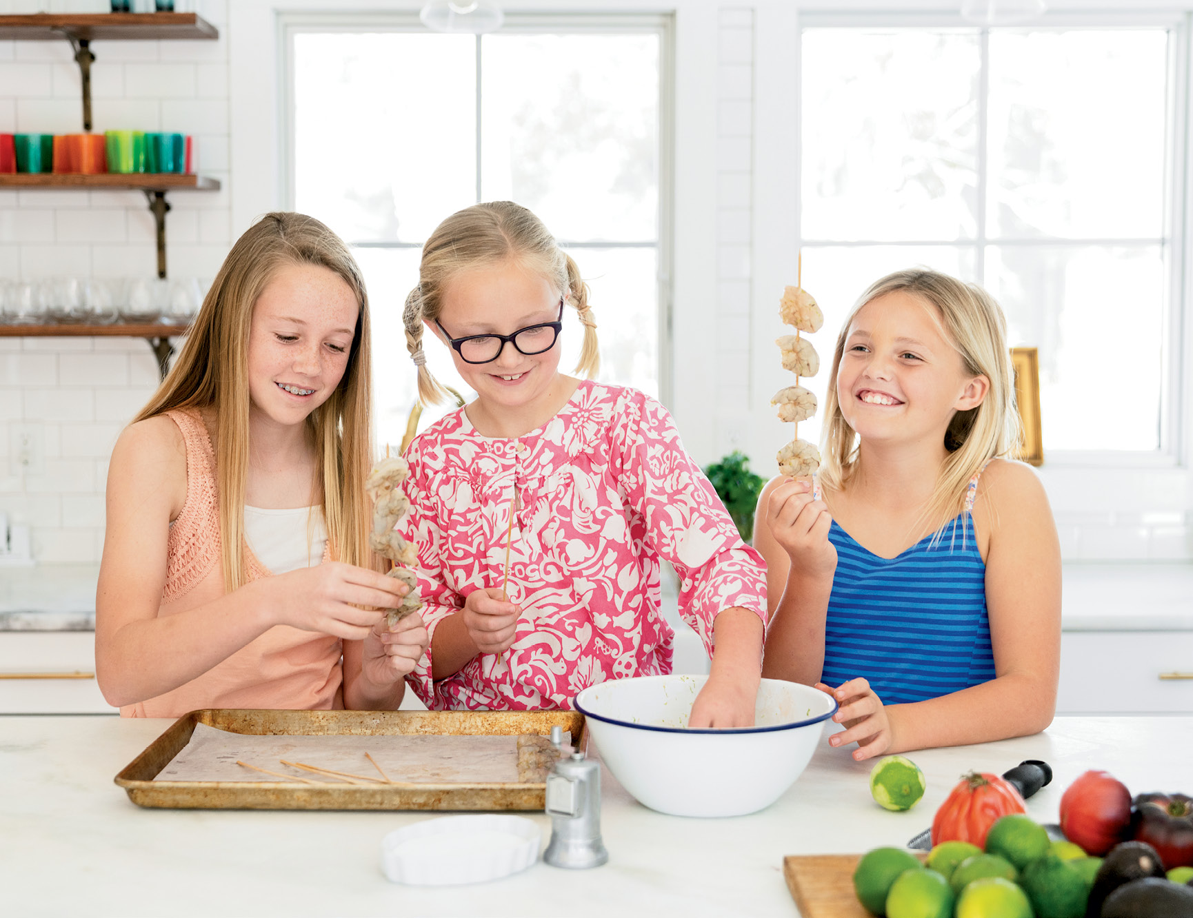 """""""We live two blocks from the best seafood around,"""" says Carrie Morey, who sends her daughters, Caroline, Cate, and Sarah to Shem Creek to buy shrimp."""