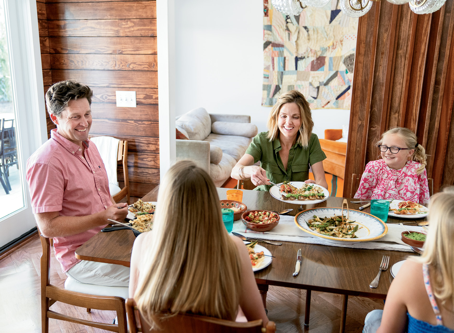 On Sundays, the Moreys make a point of gathering around the table for supper and conversation. This tradition helps the busy family unwind and reconnect before the start of the week.