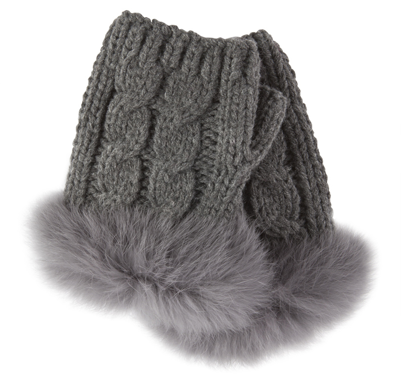 Mademmoiselle cable knit fingerless glove with fur, $24 at Mary Mojo